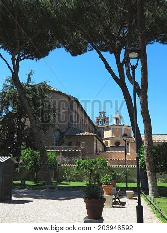 View of old cozy Rome Italy. Architecture and landmark of Rome. Postcard of Rome.