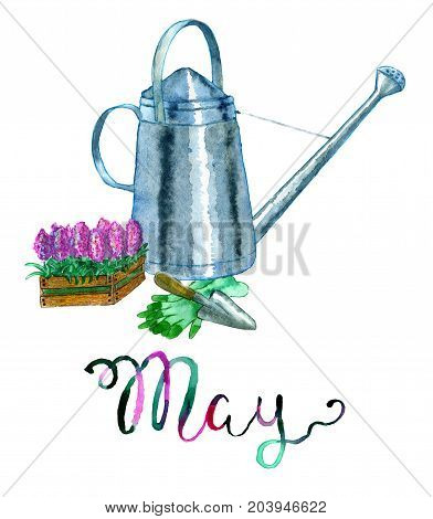 May month. Watering can and tools for planting and gardening. Watercolor isolated illustration for calendar design page. Concept of twelve months symbols and hand writing lettering