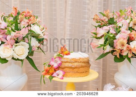 Close up picture of delicious cake made with milk candy for woman party