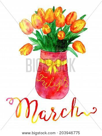 March month. Bunch of tulips in vase. Watercolor isolated illustration for calendar design page. Concept of twelve months symbols and hand writing lettering