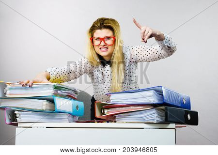 Energized Happy Business Woman In Office