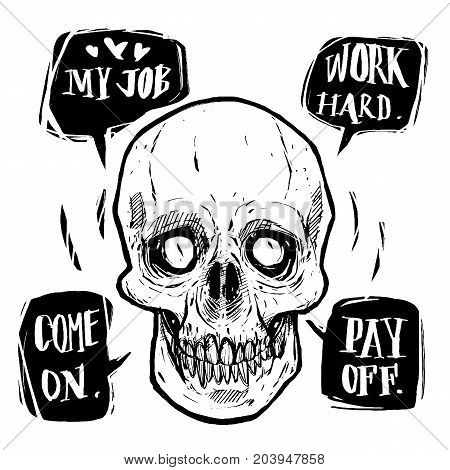 Dead businessman speech work hard pay off illustration vector for t-shirt design or other uses.