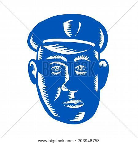 Retro style illustration of Police Officer policeman cop Head viewed from front on isolated background.