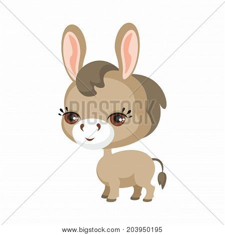 The image of cute burro in cartoon style. Vector children's illustration.