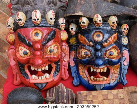 Nepalese Traditional Demon Mask, Durbar Square, Kathmandu, Nepal