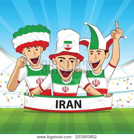 Iran Flag. Cheer football support Vector illustration.