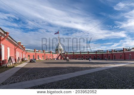 SY.PETERSBURG/RUSSIA - JULY 20, 2017. The square of the Naryshkinsky bastion of the Peter and Paul Fortress in St. Petersburg