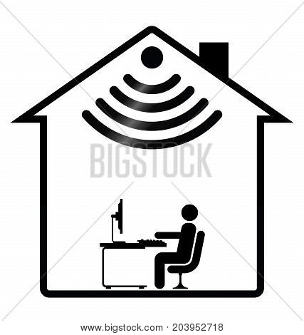 Representation of home WIFI isolated on white background