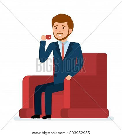 Ready to use character creation set. Businessman sitting in a chair and drinking tea. Business, office work, workplace. Flat design vector illustration.