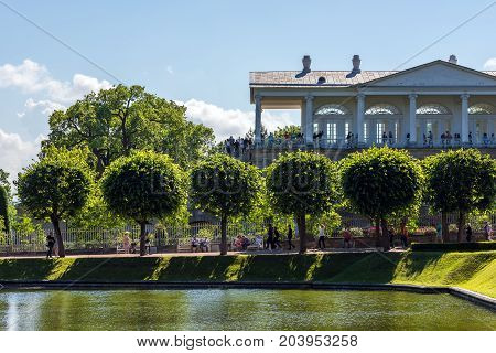 ST.PETERSBURG/RUSSIA - JULY 26, 2017. The Cameron Gallery is an architectural monument in the Catherine Park of Pushkin near St. Petersburg