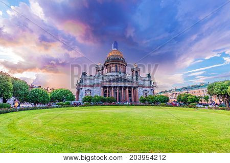 ST.PETERSBURG/RUSSIA - JULY 19, 2017. St. Isaac's Cathedral is the most famous and large church in St. Petersburg, an outstanding example of Russian religious architecture.