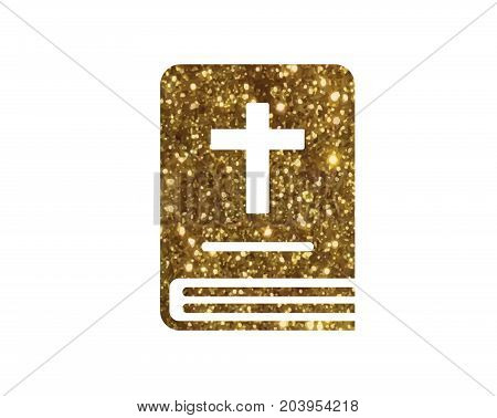 The isolated glitter golden holy bible book icon