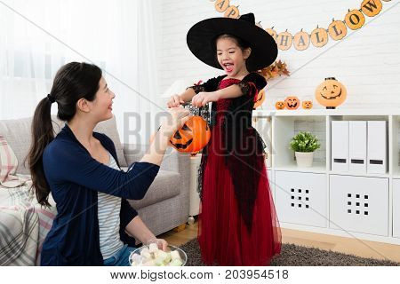 Little Cute Girl Play Trick Or Treat