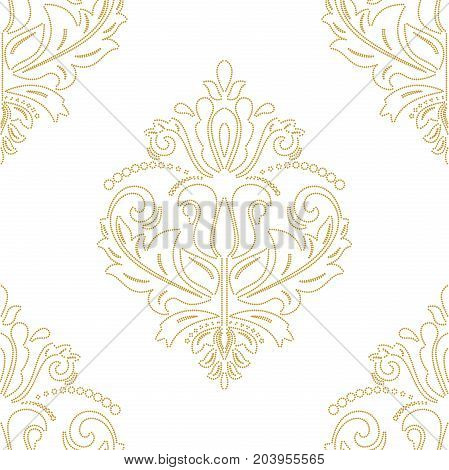 Oriental classic doted golden pattern. Seamless abstract background with repeating elements. Orient background