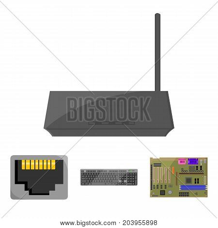 Keyboard, router, motherboard and connector. Personal computer set collection icons in cartoon style vector symbol stock illustration .