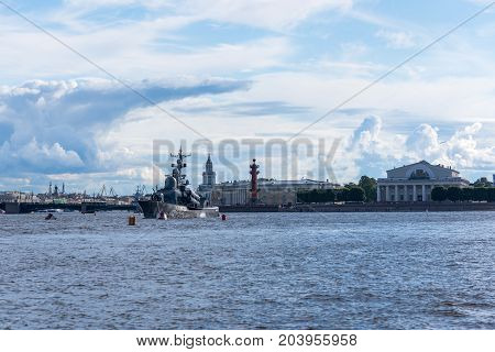 ST.PETERSBURG/RUSSIA - JULY 22, 2017. Rocket boat of the Russian Navy on the Neva River near Vasilievsky Island