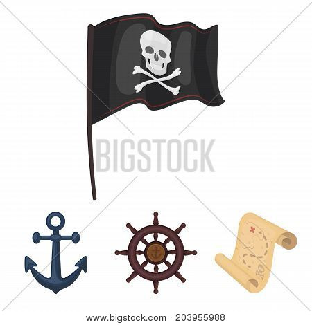 Pirate, bandit, rudder, flag .Pirates set collection icons in cartoon style vector symbol stock illustration .