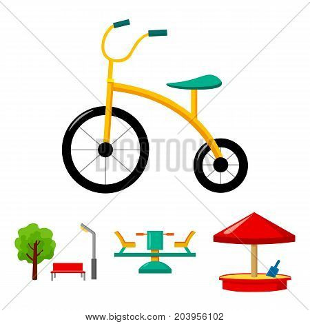 Carousel, sandbox, park, tricycle. Playground set collection icons in cartoon style vector symbol stock illustration .
