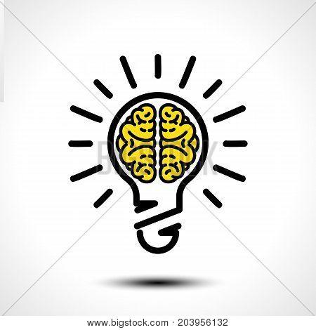 Light bulb idea with brain vector logo template. Corporate icon such as logotype. Creative light bulb idea brain vector