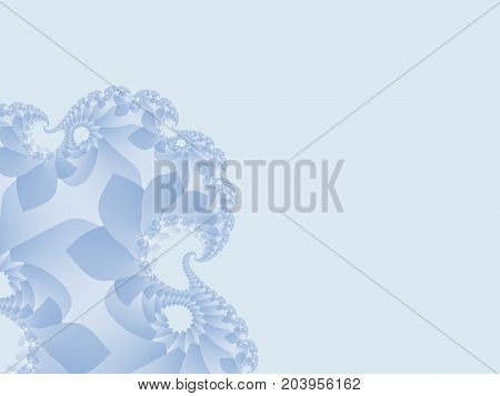 Gentle blue abstract fractal art. Pleasant background illustration with floral patterns. Creative graphic template. Simple decorative soft style. For backdrops designs layouts presentations covers