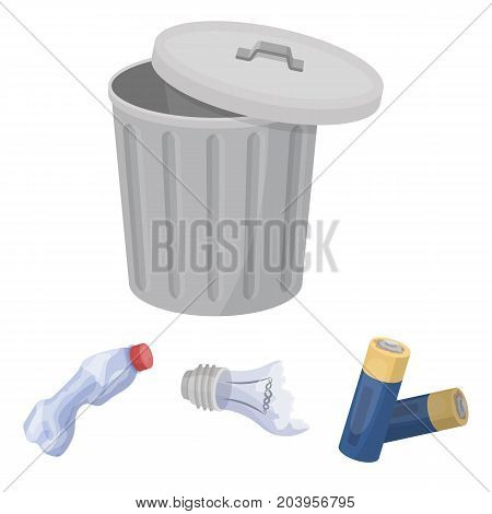 Broken light bulb, used batteries, breaking a plastic bottle, garbage can with a sign.Garbage and trash set collection icons in cartoon style vector symbol stock illustration .