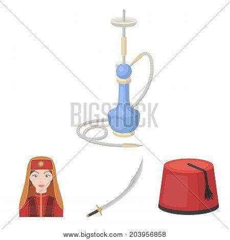Turkish fez, yatogan, turkish, hookah.Turkey set collection icons in cartoon style vector symbol stock illustration .