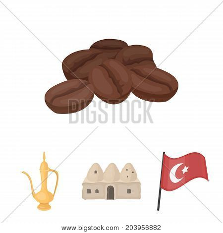 House hive, national flag, coffee pot copper, grains coffee.Turkey set collection icons in cartoon style vector symbol stock illustration .