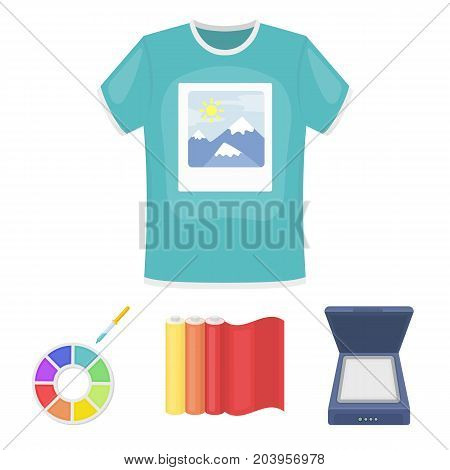 Scanner, color palette and other equipment. Typography set collection icons in cartoon style vector symbol stock illustration .