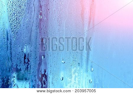 Natural Water Drop Background.window Glass With Condensation, Strong, High Humidity In The Room, Lar