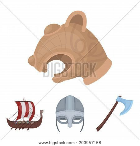 Viking helmet, battle ax, rook on oars with shields, dragon, treasure. Vikings set collection icons in cartoon style vector symbol stock illustration .
