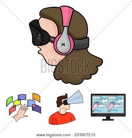 Hand, monitor, headphones, woman .Virtual reality set collection icons in cartoon style vector symbol stock illustration .