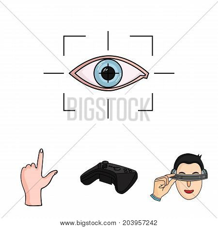Virtual, reality, helmet, computer, technology, .Virtual reality set collection icons in cartoon style vector symbol stock illustration .