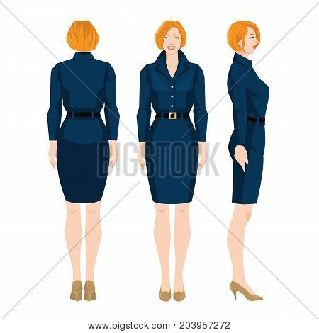 Vector illustration of redhead woman in formal dress and beige shoes on high heel on white background. Various turns woman's figure. Front view and back view.