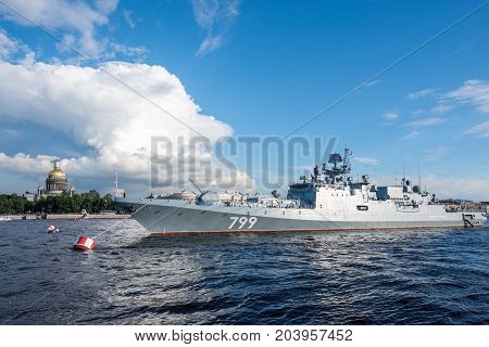 ST.PETERSBURG/RUSSIA - JULY 23, 2017. Admiral Makarov, the Naval Forces of Russia, on a parking lot on the Neva River in St. Petersburg