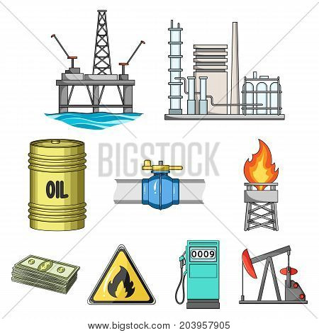 Oil rig, pump and other equipment for oil recovery, processing and storage.Oil set collection icons in cartoon style vector symbol stock illustration .