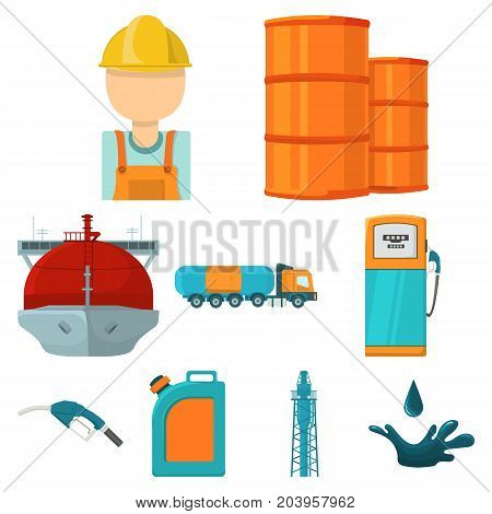 Oil industry set icons in cartoon design. Big collection of oil industry vector symbol stock illustration