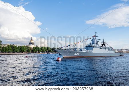 ST.PETERSBURG/RUSSIA - JULY 23, 2017. Corvette Stoykiy Navy of Russia in the parking lot on the Neva River in St. Petersburg