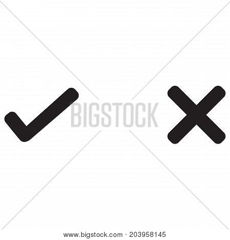 check mark right wrong black icon Letter X Scar Icon Cross Shape