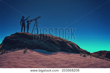 A man showed him a child telescope starry sky. This is a 3d render illustration