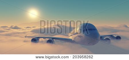 Aircraft flying high through the storm clouds. Airplane front view. This is a 3d render illustration