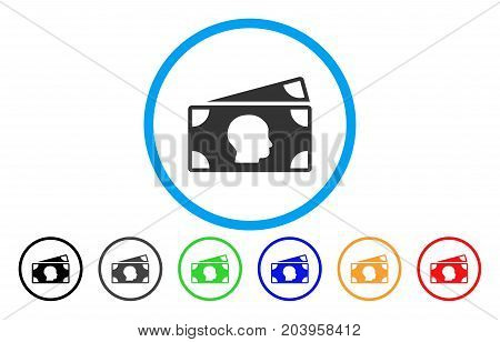 Banknotes icon. Vector illustration style is a flat iconic banknotes grey rounded symbol inside light blue circle with black, gray, green, blue, red, orange color versions.