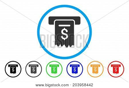 Cheque Payment icon. Vector illustration style is a flat iconic cheque payment gray rounded symbol inside light blue circle with black, gray, green, blue, red, orange color additional versions.