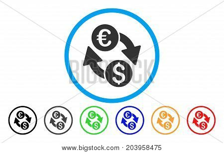 Euro Money Exchange icon. Vector illustration style is a flat iconic euro money exchange gray rounded symbol inside light blue circle with black, gray, green, blue, red,