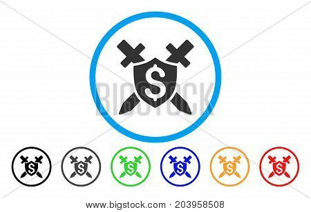 Financial Shield icon. Vector illustration style is a flat iconic financial shield grey rounded symbol inside light blue circle with black, gray, green, blue, red, orange color additional versions.