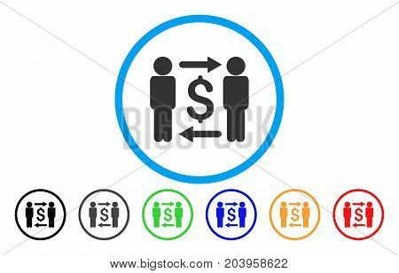 Money Changers icon. Vector illustration style is a flat iconic money changers gray rounded symbol inside light blue circle with black, gray, green, blue, red, orange color additional versions.