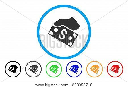 Pay Cash icon. Vector illustration style is a flat iconic pay cash grey rounded symbol inside light blue circle with black, gray, green, blue, red, orange color variants.