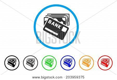 Credit Money icon. Vector illustration style is a flat iconic credit money grey rounded symbol inside light blue circle with black, gray, green, blue, red, orange color variants.
