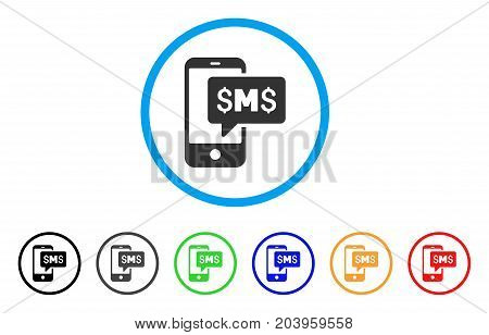Phone SMS icon. Vector illustration style is a flat iconic phone sms grey rounded symbol inside light blue circle with black, gray, green, blue, red, orange color additional versions.