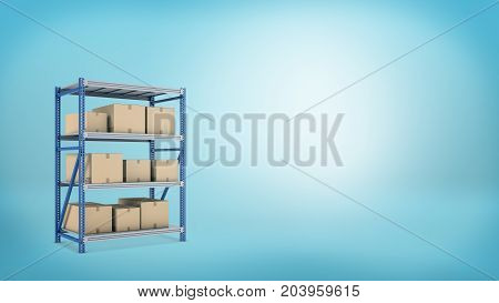 3d rendering of a metal storage rack with three shelves full of closed carton boxes with goods. Storage place. Warehouse rent. Online shop stock.