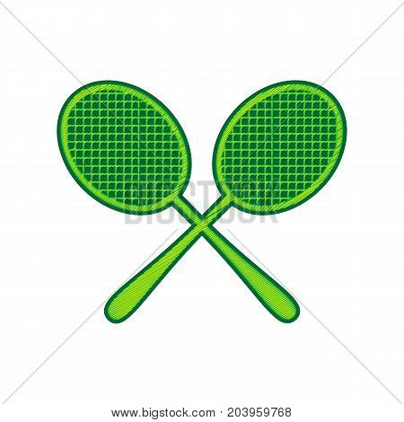 Two tennis racket sign. Vector. Lemon scribble icon on white background. Isolated